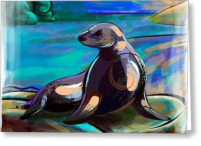Reserve Greeting Cards - Resting Seal Greeting Card by Bedros Awak