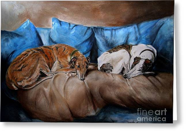 Greyhound Greeting Cards - Resting Time Greeting Card by Dorota Kudyba