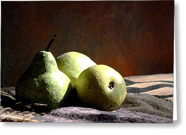 Pear Art Drawings Greeting Cards - Resting Together Greeting Card by Cole Black