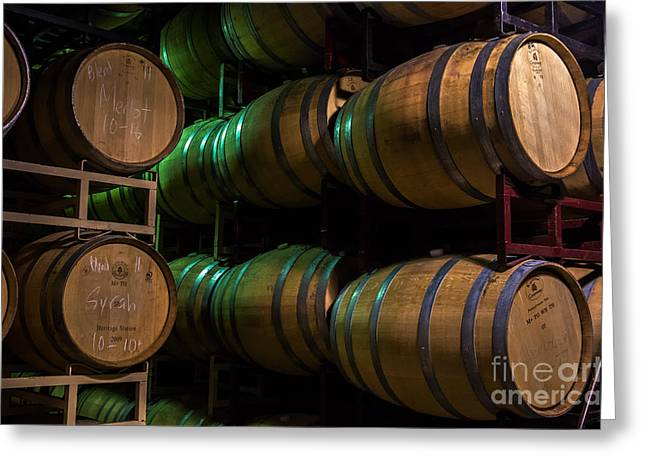 Red Wine Greeting Cards - Resting Wine Barrels Greeting Card by Iris Richardson