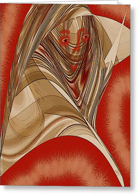Surreal Geometric Greeting Cards - Resting Woman - Portrait In Red Greeting Card by Ben and Raisa Gertsberg