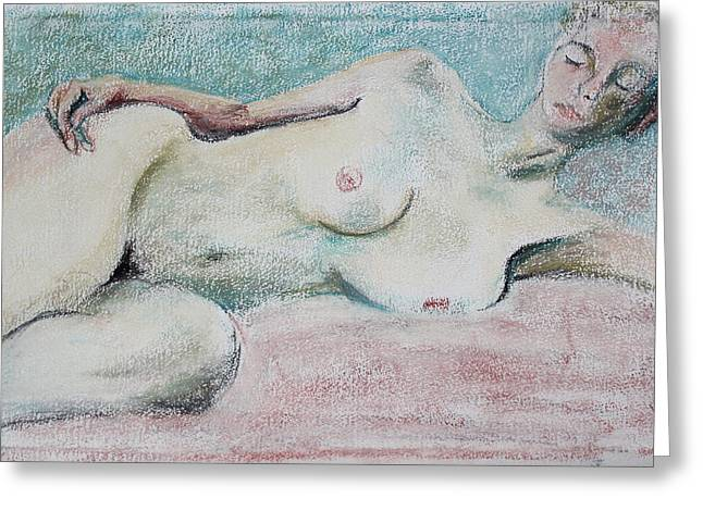 Painter Pastels Greeting Cards - Restive Woman Dreaming Greeting Card by Asha Carolyn Young
