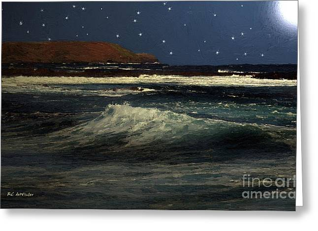 Sea Moon Full Moon Greeting Cards - Restless Sea Greeting Card by RC deWinter
