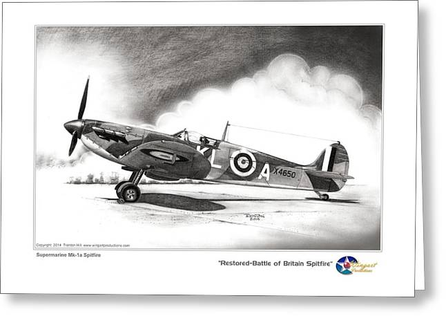 Spitfire Drawings Greeting Cards - Restored-Battle of Britain Spitfire Greeting Card by Trenton Hill
