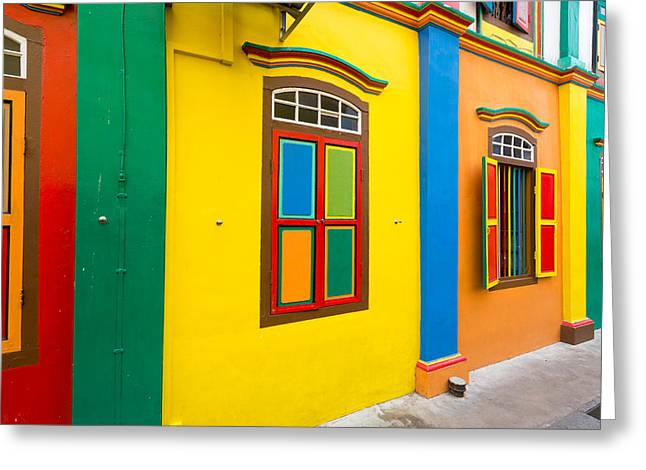 Residential District Greeting Cards - Restored Building In Little India Greeting Card by Panoramic Images