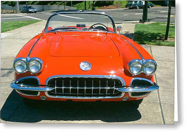 Restored Red 1959 Corvette, Front View Greeting Card by Panoramic Images