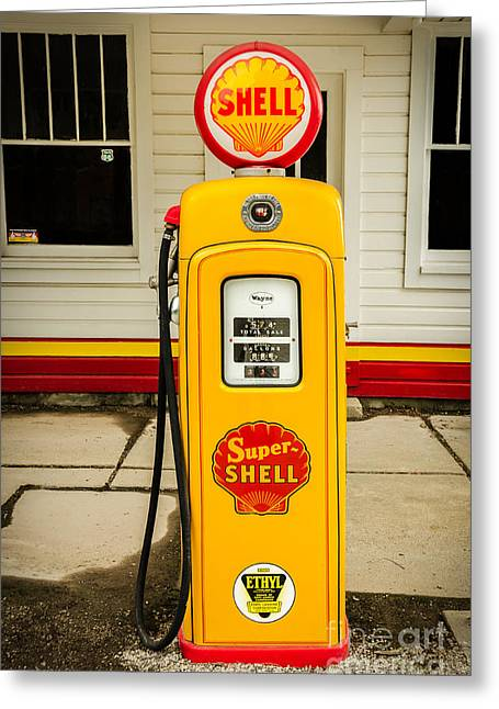 Sue Smith Greeting Cards - Restored Shell Pump on Route 66 Greeting Card by Sue Smith