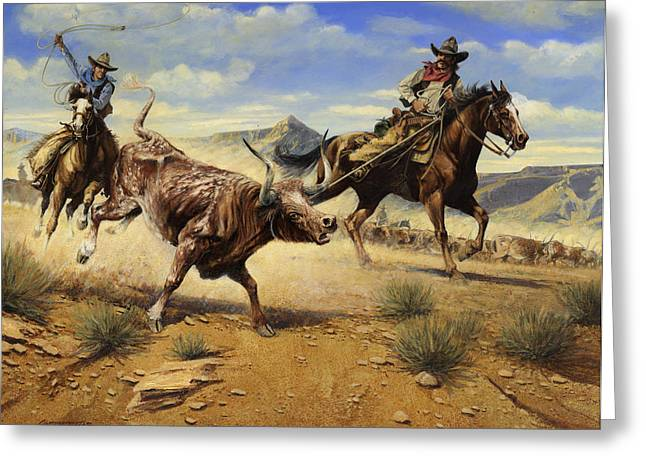 Steer Greeting Cards - Restraint 2 Cowboys Roping a Steer Greeting Card by Don  Langeneckert
