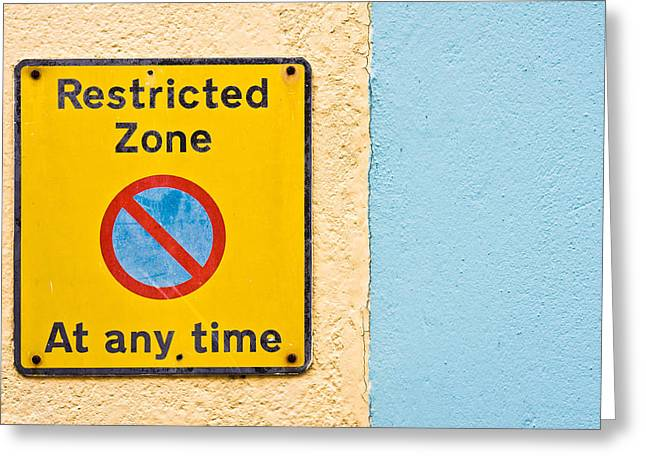 Restricted Zone Greeting Card by Tom Gowanlock