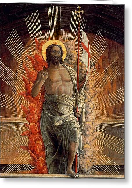 Christ Pictures Greeting Cards - Resurrection Greeting Card by Andrea Mantegna