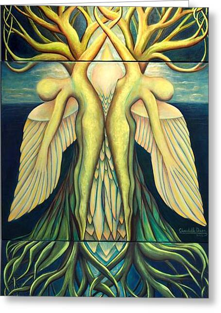 Tree Roots Paintings Greeting Cards - Resurrection Greeting Card by Claudette Dean