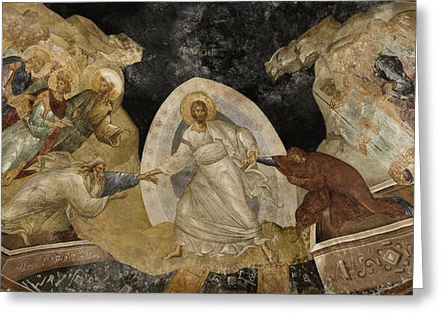 Icon Byzantine Greeting Cards - Resurrection of Adam and Eve Panorama Greeting Card by Stephen Stookey