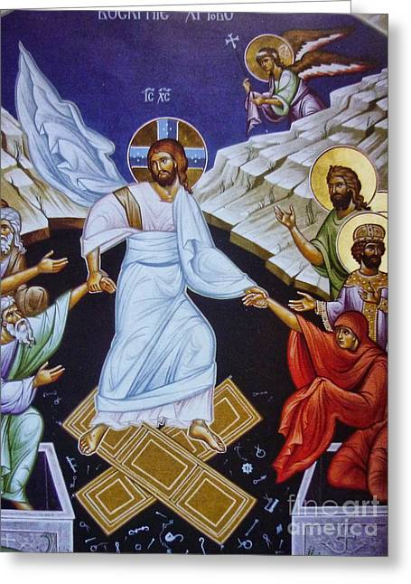 Pentecost Paintings Greeting Cards - Resurrection of Jesus Christ Icon Greeting Card by Ryszard Sleczka