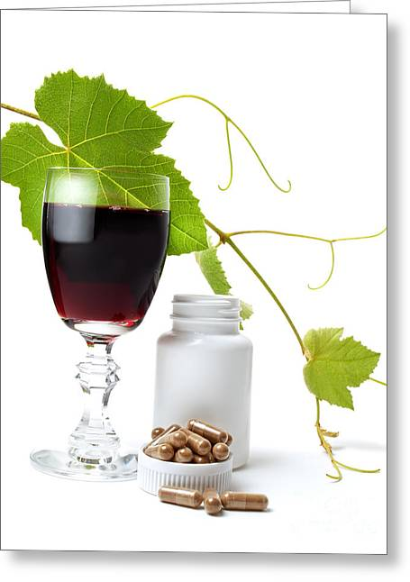 Glass Bottle Greeting Cards - Resveratrol Greeting Card by Sinisa Botas