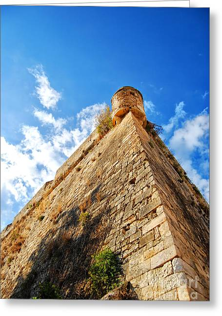 Port Town Greeting Cards - Rethymnon fort 01 Greeting Card by Antony McAulay