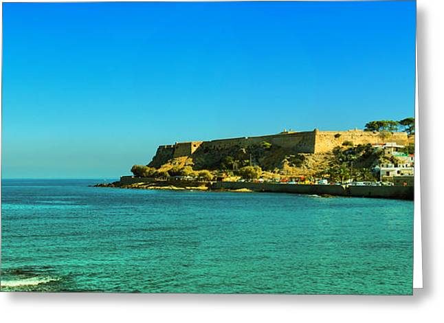 Port Town Greeting Cards - Rethymnon fort panorama 02 Greeting Card by Antony McAulay