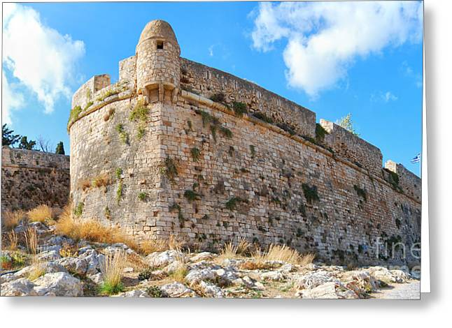 Port Town Greeting Cards - Rethymnon fort panorama 03 Greeting Card by Antony McAulay