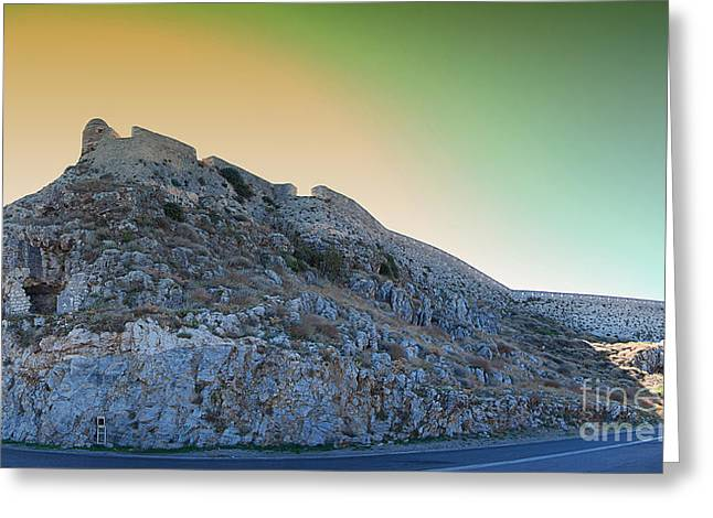 Port Town Greeting Cards - Rethymnon fort panorama Greeting Card by Antony McAulay