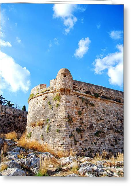Port Town Greeting Cards - Rethymnon fort portrait Greeting Card by Antony McAulay