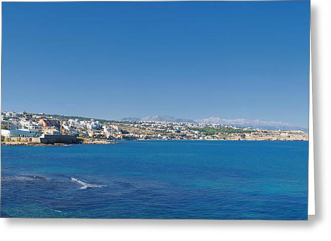 Port Town Greeting Cards - Rethymnon panorama Greeting Card by Antony McAulay