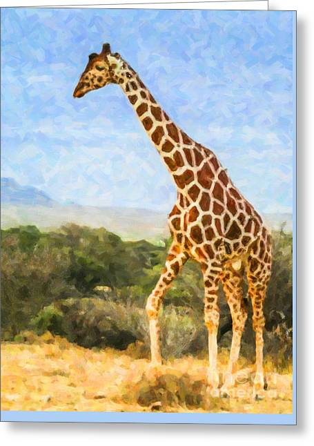 Reticulated Giraffe Kenya Greeting Card by Liz Leyden