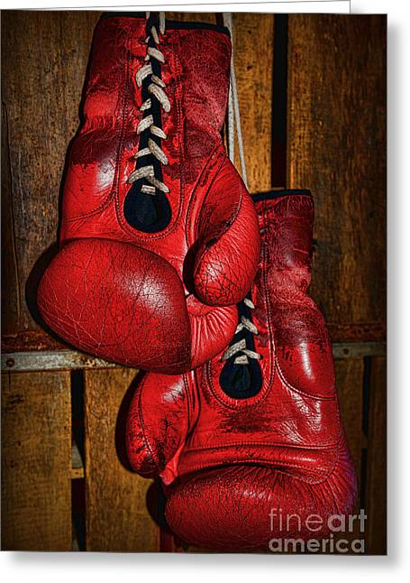 Jabbing Greeting Cards - Retired Boxing Gloves Greeting Card by Paul Ward