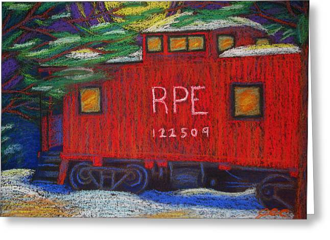 Caboose Pastels Greeting Cards - Retired Caboose Greeting Card by Jesse Colton