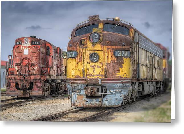 Diesel Locomotives Greeting Cards - Retired Greeting Card by Donald Schwartz