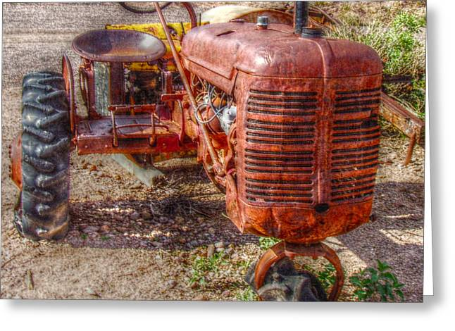 Amazon Greeting Card Greeting Cards - Retired Farmall B Tractor - Square Greeting Card by Janice Sakry