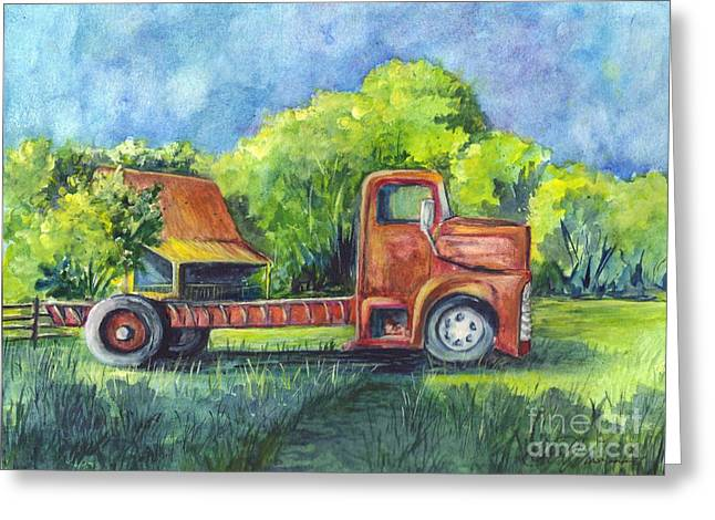 Old Trucks Drawings Greeting Cards - Retired Here Greeting Card by Carol Wisniewski