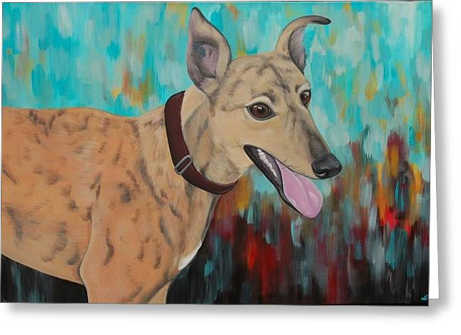 Rescued Greyhound Greeting Cards - Retired Racer Greeting Card by Lauren Hammack