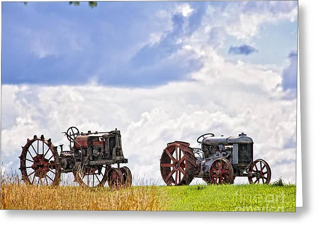 Bedford Hills Greeting Cards - Retired Tractors Greeting Card by Timothy Flanigan