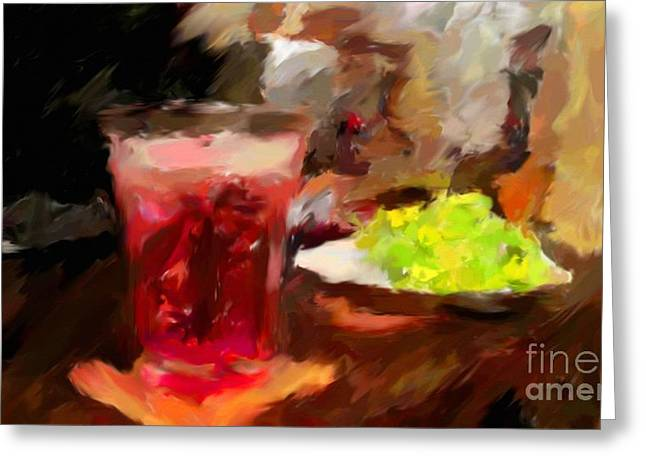 Tablets Drawings Greeting Cards - Retirement With Lemonade Greeting Card by Miroslav Tyl