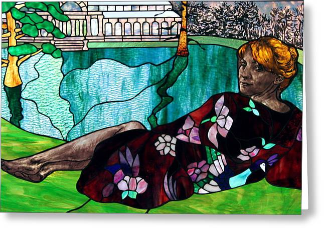 Woman Glass Art Greeting Cards - Retiring in Retiro Park Greeting Card by Jane Croteau