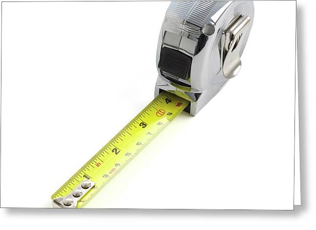 Retractable Tape Measure Greeting Card by Science Photo Library