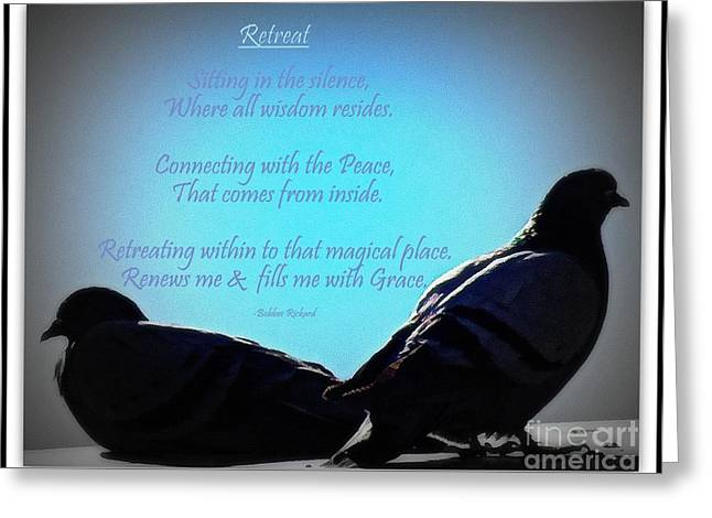Renewing Digital Art Greeting Cards - Retreat in the Silence Poetry Greeting Card by Bobbee Rickard