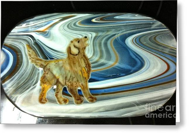 Golden Glass Art Greeting Cards - Retriever Platter Greeting Card by Margaret Donat