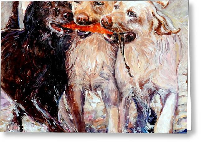 Brown Dogs Greeting Cards - Retrieving Fools Greeting Card by Molly Poole