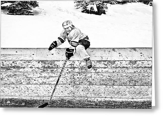 Minor Hockey Greeting Cards - Retrieving the Puck Greeting Card by Elizabeth Urlacher
