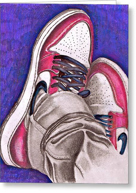 Nike Greeting Cards - Retro 1.2 Greeting Card by Dallas Roquemore
