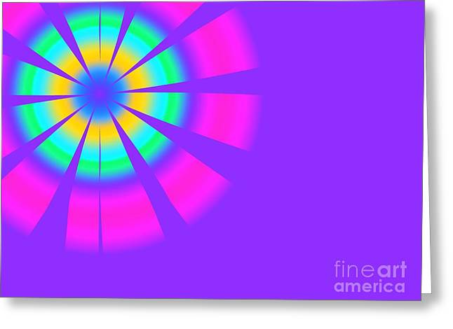 Flower Design Greeting Cards - Retro 1960s Fractal Flower - Purple Version Greeting Card by Shazam Images
