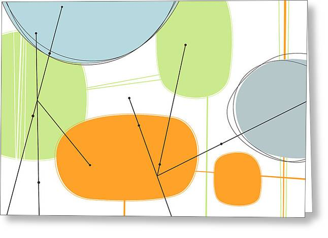 Geometric Digital Art Greeting Cards - Retro Abstract in Orange and Green Greeting Card by Karyn Lewis Bonfiglio