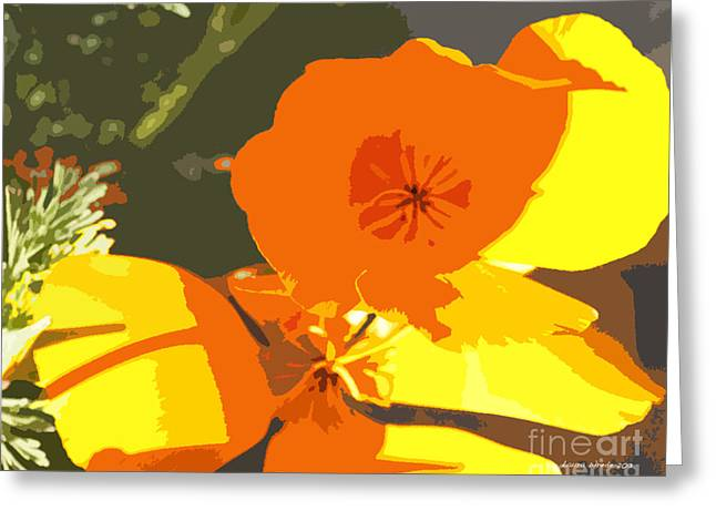 Abstract California Poppies Greeting Cards - Retro Abstract Poppies Greeting Card by Artist and Photographer Laura Wrede