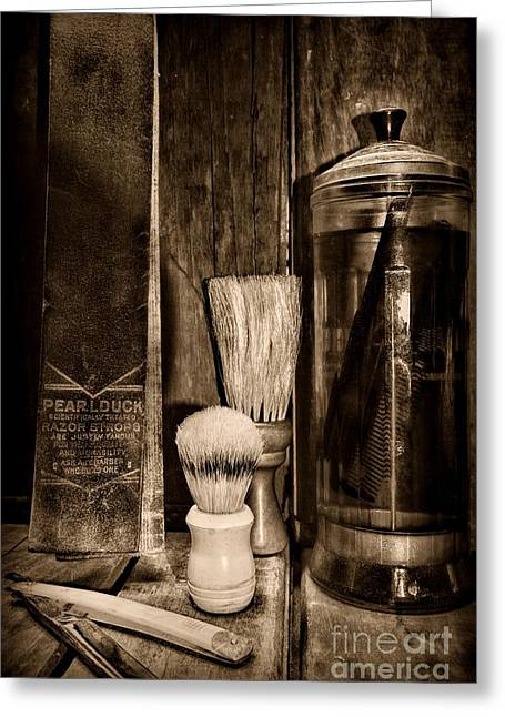 Hair Dresser Greeting Cards - Retro Barber Tools in Black and White Greeting Card by Paul Ward