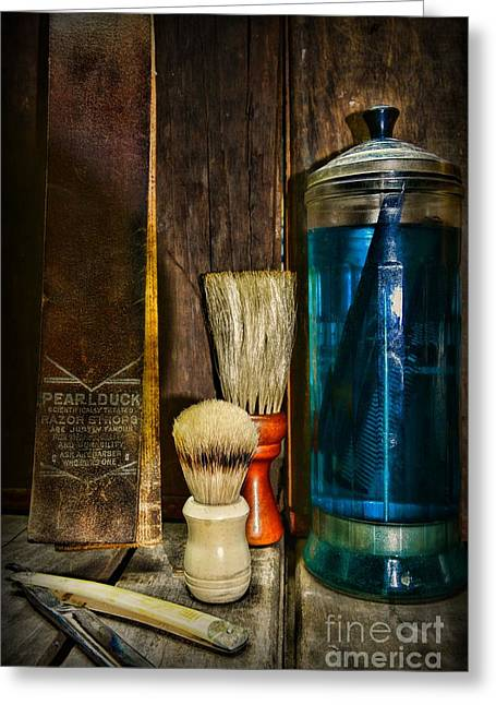Hair Dresser Greeting Cards - Retro Barber Tools Greeting Card by Paul Ward