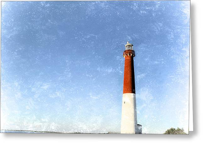 Historic Home Mixed Media Greeting Cards - Retro Barnegat Lighthouse Barnegat Light New Jersey Greeting Card by Marianne Campolongo