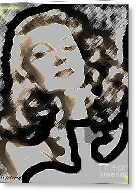 Starlet Photographs Greeting Cards - Retro  Beauty  Rita Hayworth Greeting Card by Cheryl Young