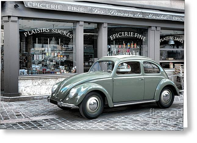 Grocery Store Greeting Cards - Retro Beetle Greeting Card by Olivier Le Queinec