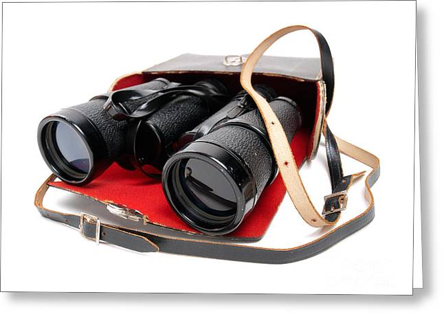 Observer Photographs Greeting Cards - Retro binoculars Greeting Card by Sinisa Botas