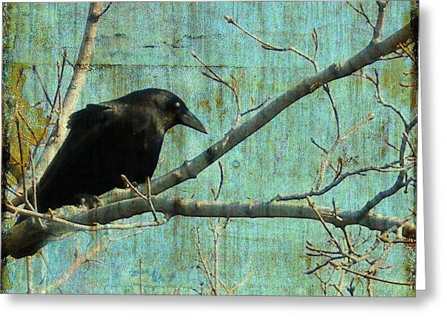 Nature Collage Greeting Cards - Retro blue - Crow Greeting Card by Gothicolors Donna Snyder